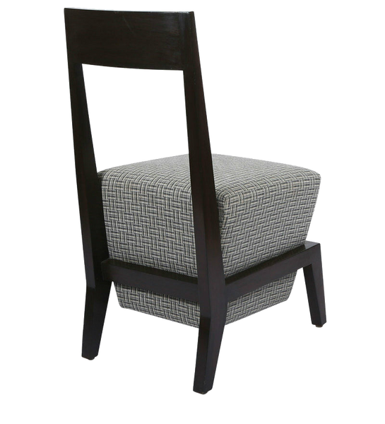 Teak Chair with Box Cushion in Silver Weave