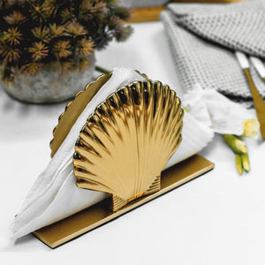 Art Deco Metal Sea Shell Napkin Holder in Gold 1 BHK Interiors