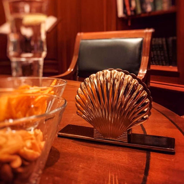 Art Deco Metal Sea Shell Napkin Holder in Gold - Napkin