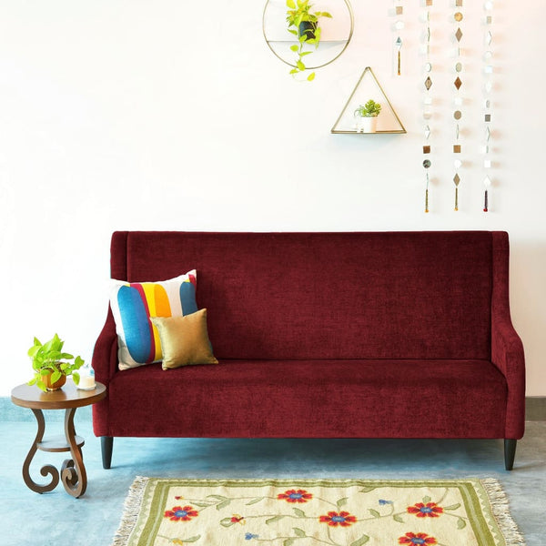 """Audrey"" High Back Three Seater Sofa in Velvet Finish with Teak Legs - 6 colour options 1 BHK Interiors"