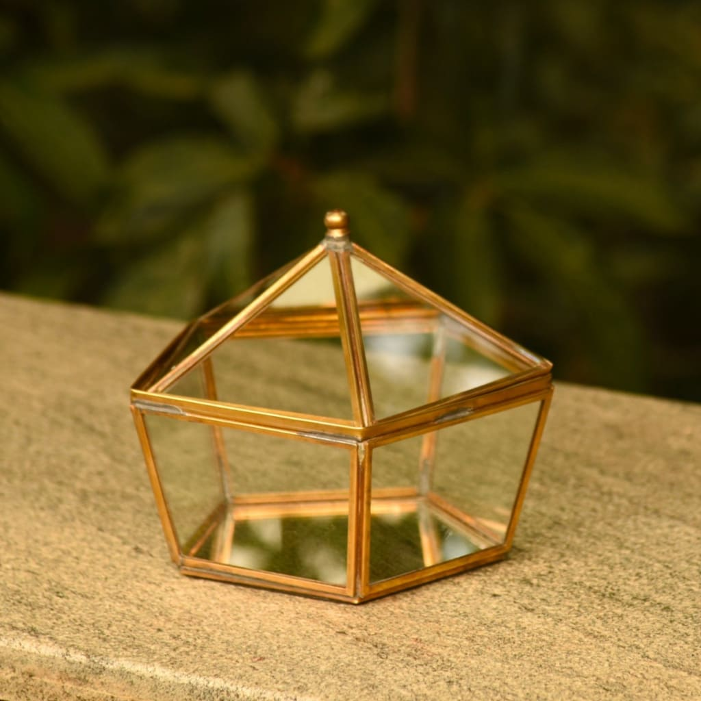 "Brass & Glass ""Circus Tent"" Terrarium Style Jewellery Box with Mirror Base 1 BHK Interiors"