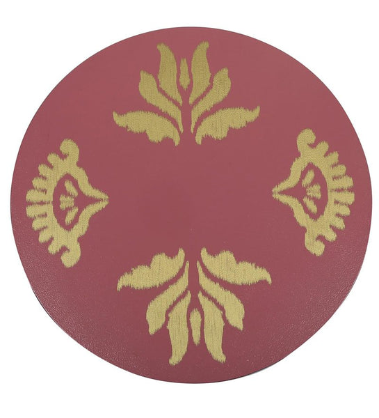 "1 BHK x Studio Kohl ""Ikat 2"" Mini Table / Wall Hanging in Pink & Gold 1 BHK Interiors"