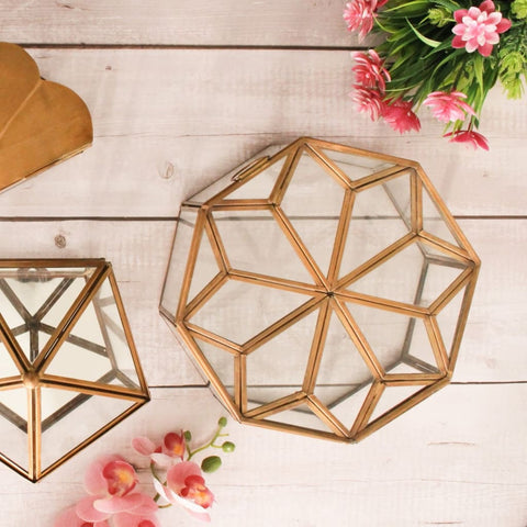 Metal & Glass Octagonal Decorative Box in Brass & Glass -