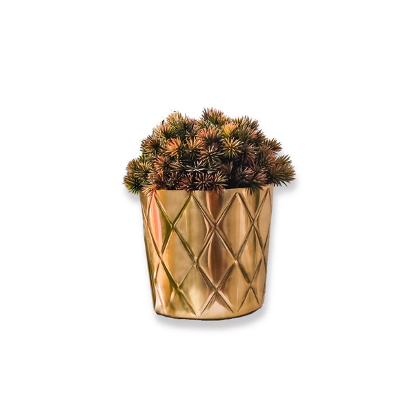 Metal Pineapple Criss Cross Planter / Pot in Gold 1 BHK Interiors