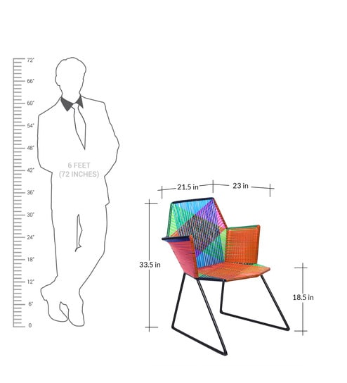 Psychedelic Metal and Plastic Cane Garden Chair - Outdoor Garden Chair - Multicoloured Garden Chair - White Frame Outdoor Garden Chair