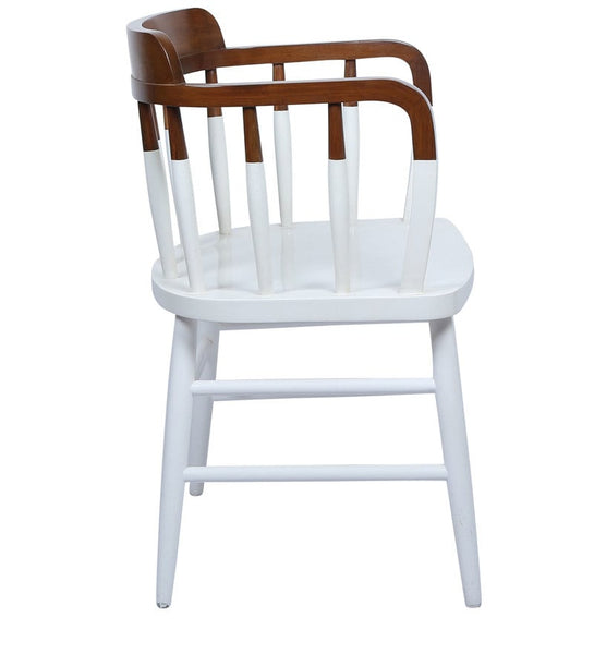 Colonial Style Paint Dipped Teak Accent Chair in White