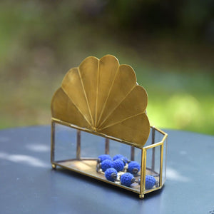 Peacock Wing Brass & Glass Jewellery Box - Decorative Box