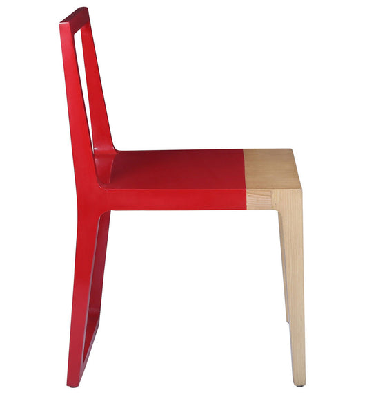 Partial Colour Scandinavian Design Teak Chair in Lacquered Red 1 BHK Interiors