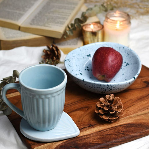 Set of 3 in Blue Ceramic - Splatter Print Organic Shape Bowl + Vintage Grooved Mug + Etched Coaster 1 BHK Interiors