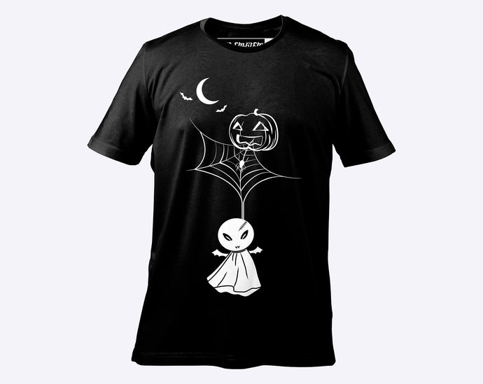 Pumpkin Web Unisex Cotton Tee - Black