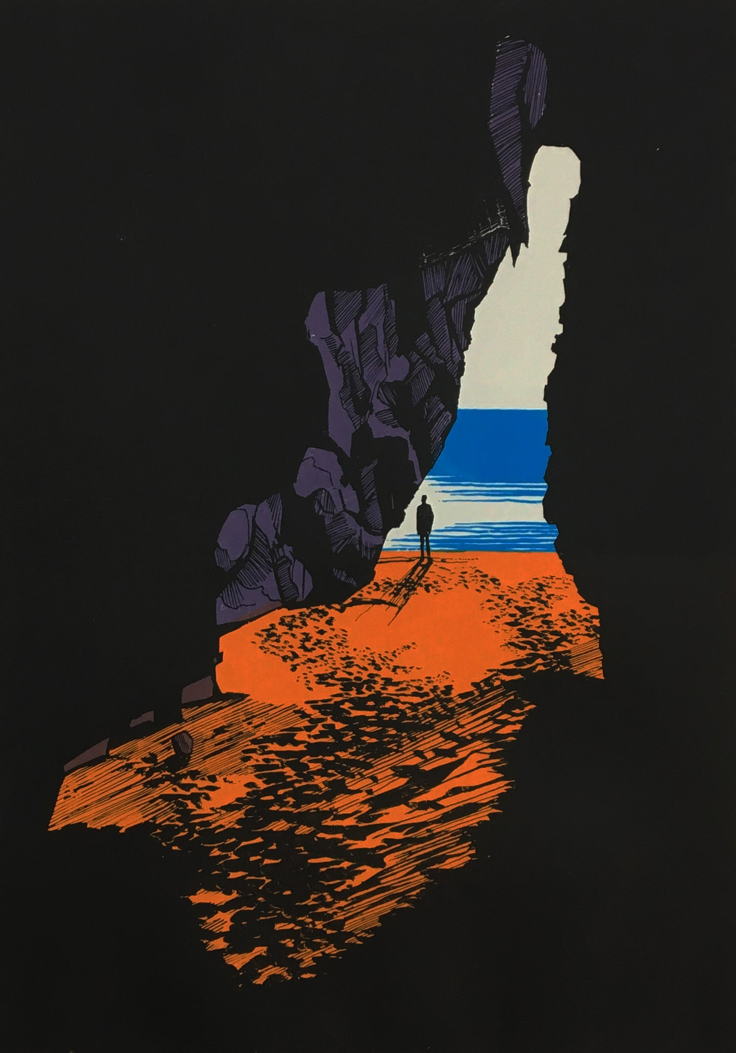 Dragon Cave - limited edition screen print by James Bywood