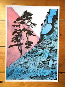 Castle Crag - limited edition Riso print by James Bywood