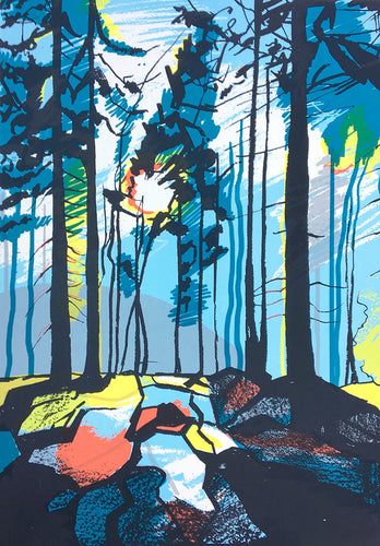Forest with Low Sun - limited edition screen print by James Bywood