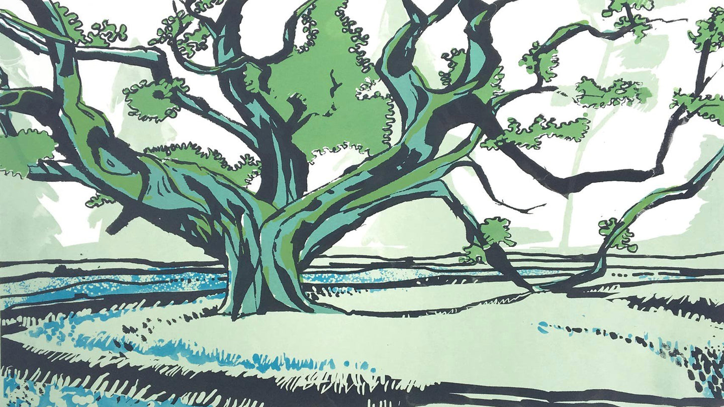 Inveraray Oak - limited edition screen print by James Bywood