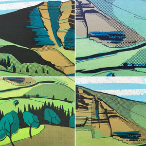 Mam Tor (detail) - limited edition screen print by James Bywood