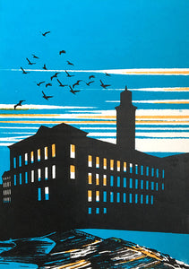 Salts Mill - limited edition screen print by James Bywood