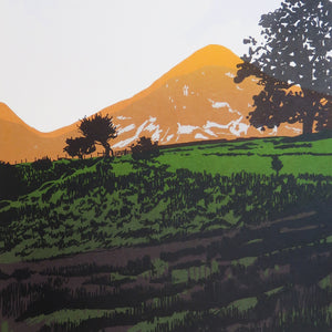 Evening Sun on Grasmoor - limited edition screen print by James Bywood