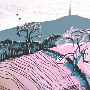Towards Emley Moor (detail) - limited edition screen print by James Bywood