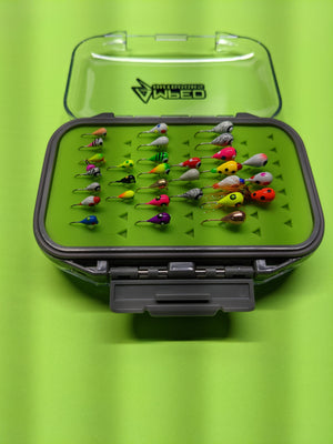 30 Jigs and Large Case! 10x 4mm, 10x 5mm, 10x 6mm