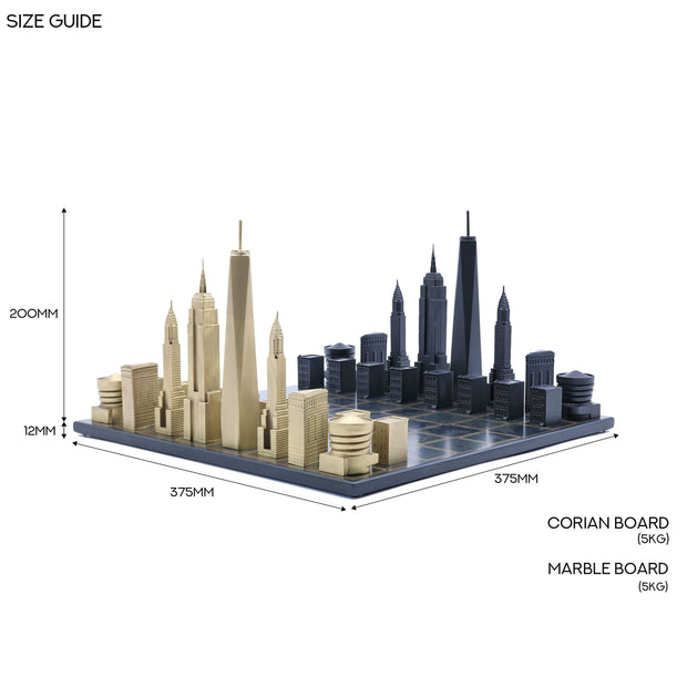 New York bronze metal chess set chess board setup