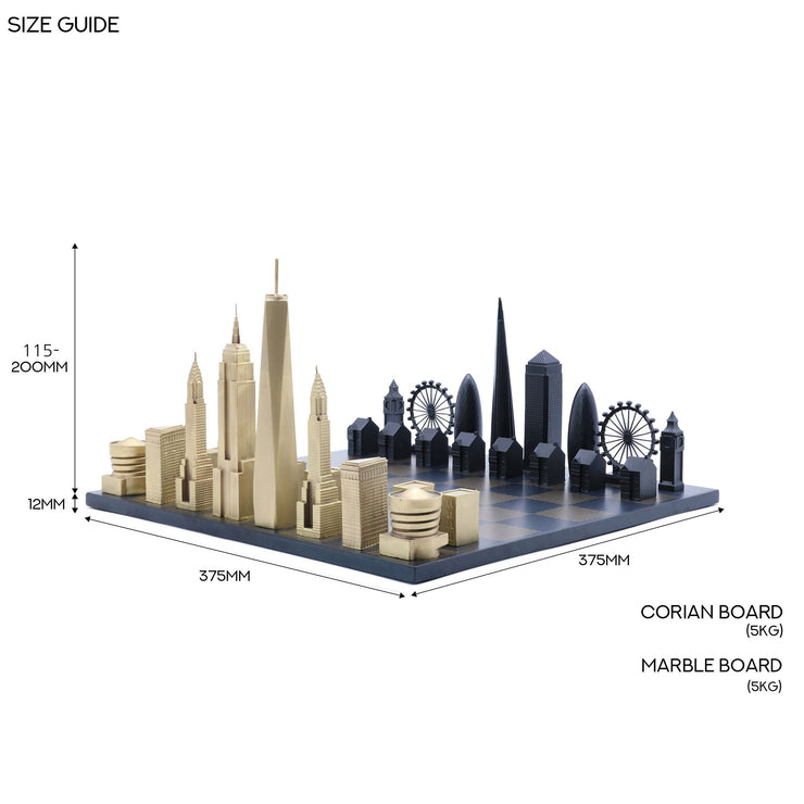 Buy City unique chess set on marble chess board