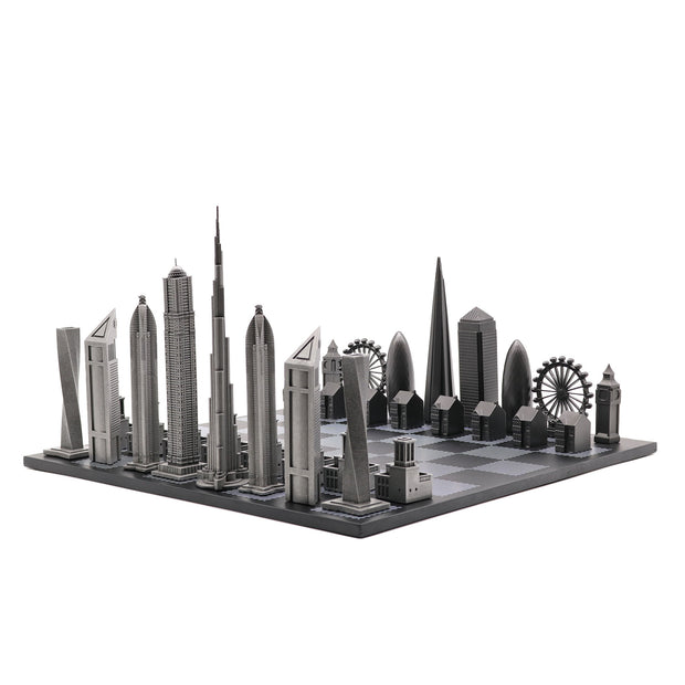 Dubai vs. London unique luxury chess set on wooden board