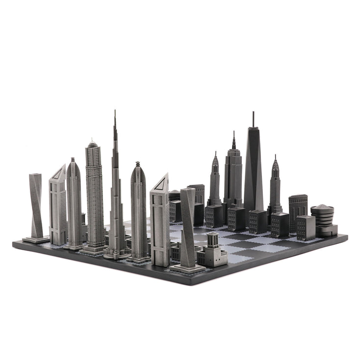 Dubai vs. New York unique luxury chess set on wooden board