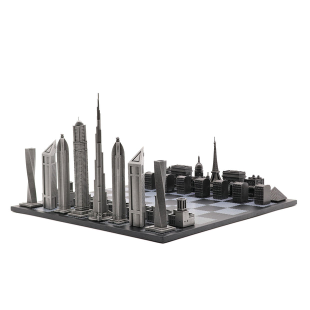 Dubai vs. Paris unique luxury chess set on wooden board