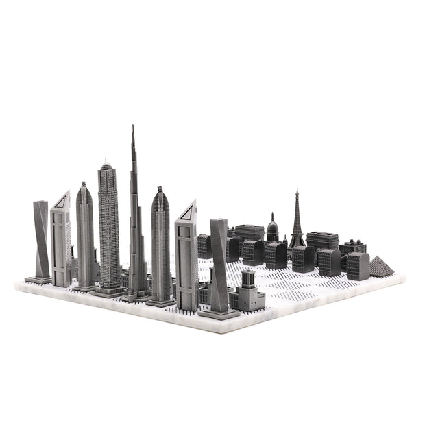 Dubai vs. Paris unique luxury chess set on Italian marble board