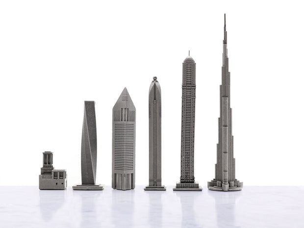 Skyline Chess Dubai metal unique chess set