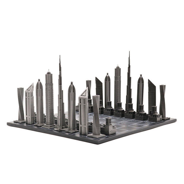 Skyline Chess Dubai unique luxury metal chess set of famous buildings