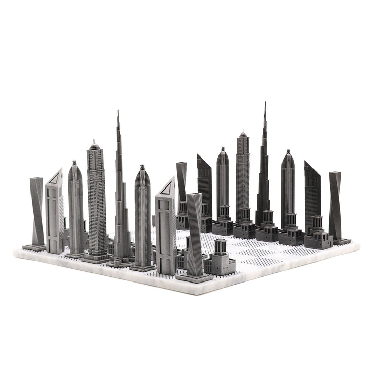 Skyline Chess Dubai metal unique chess set - gift ideas for men