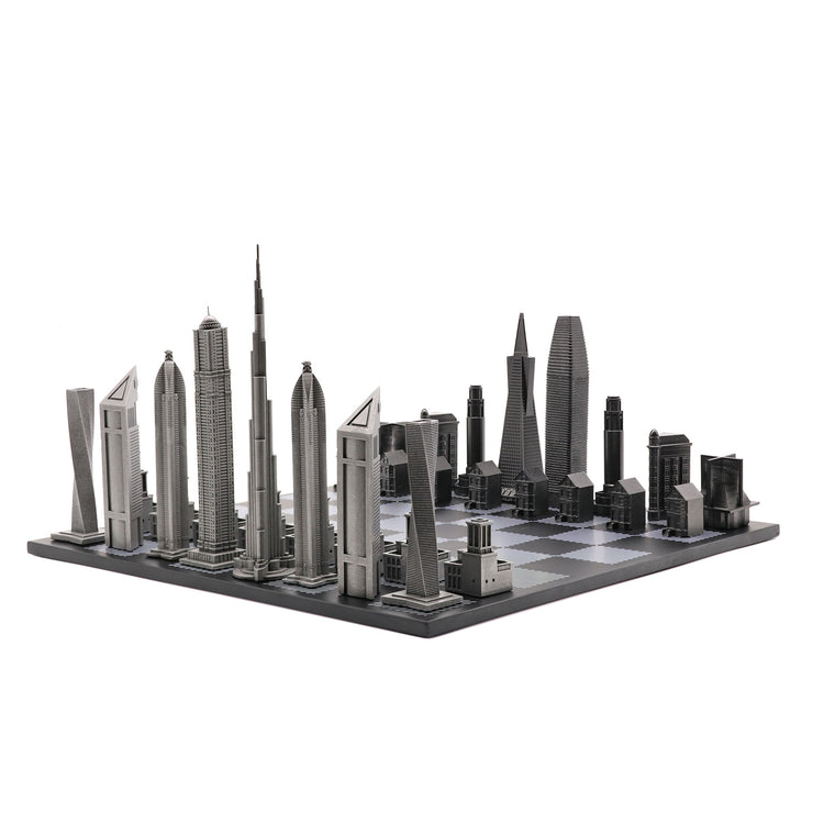 Dubai vs. San Francisco unique luxury chess set on wooden board
