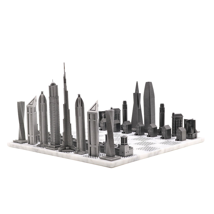 Dubai vs. San Francisco unique luxury chess set on Italian marble board