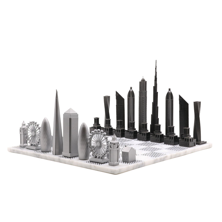 Dubai vs. London unique luxury chess set on Italian marble board