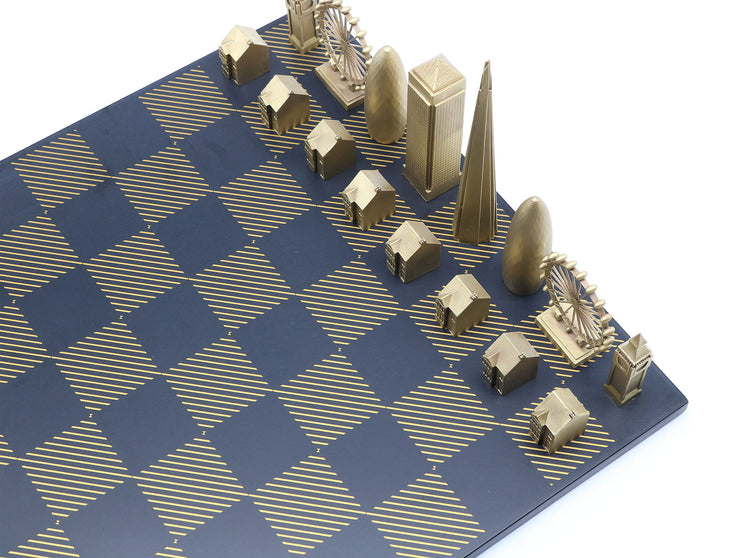 Skyline Chess London solid bronze metal and corian hatch board