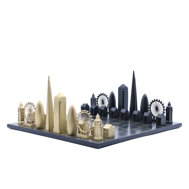 Skyline Chess London unique set up chess board with personalized message
