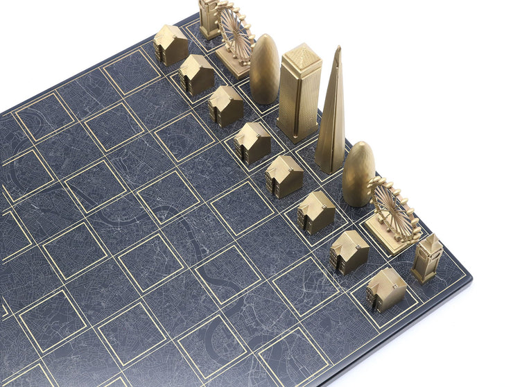 Skyline Chess London solid bronze metal unique chess set map board - gift ideas for men