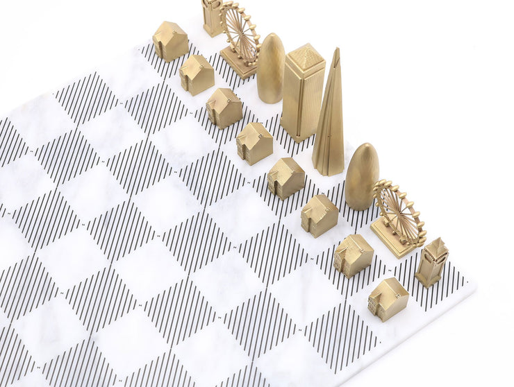 London solid bronze metal unique chess set Carrara marble board - gift ideas for men