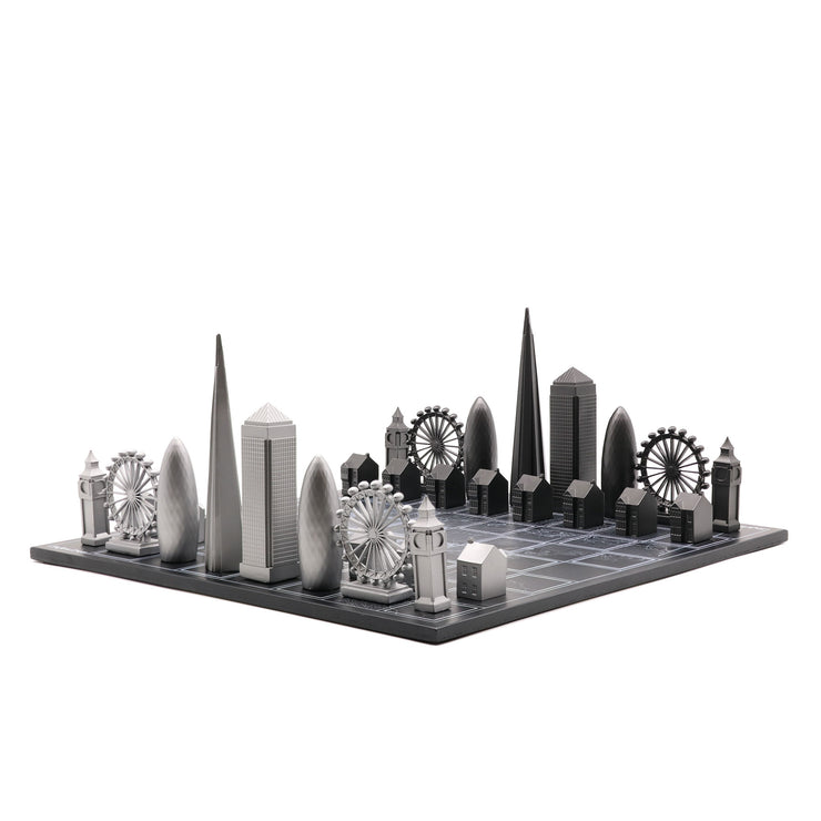 Skyline Chess London unique luxury metal chess set of famous buildings