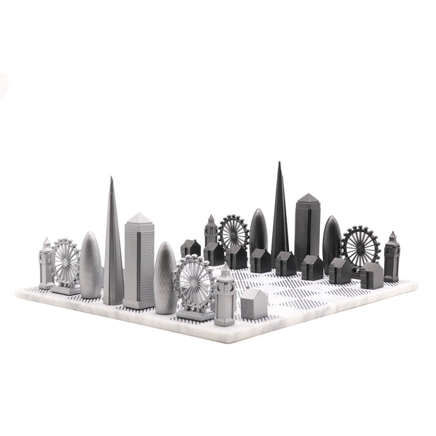 Skyline Chess London unique metal chess set personalized gifts