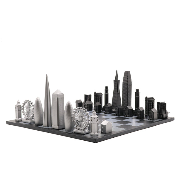 San Francisco vs. London unique luxury chess set on wooden board