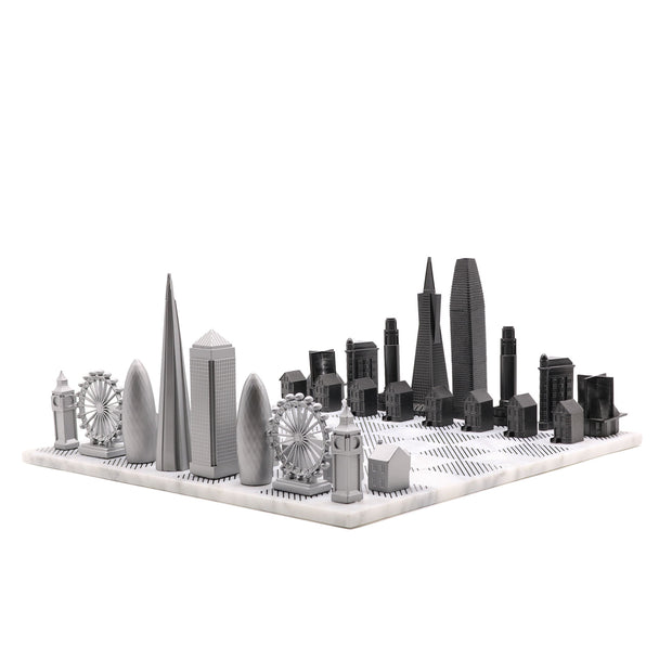 London vs. San Francisco unique luxury chess set on Italian marble board