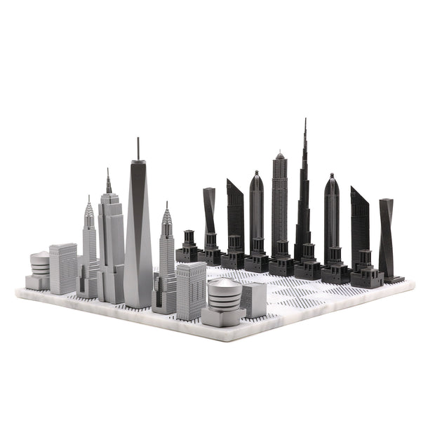 Dubai vs. New York unique luxury chess set on Italian marble board