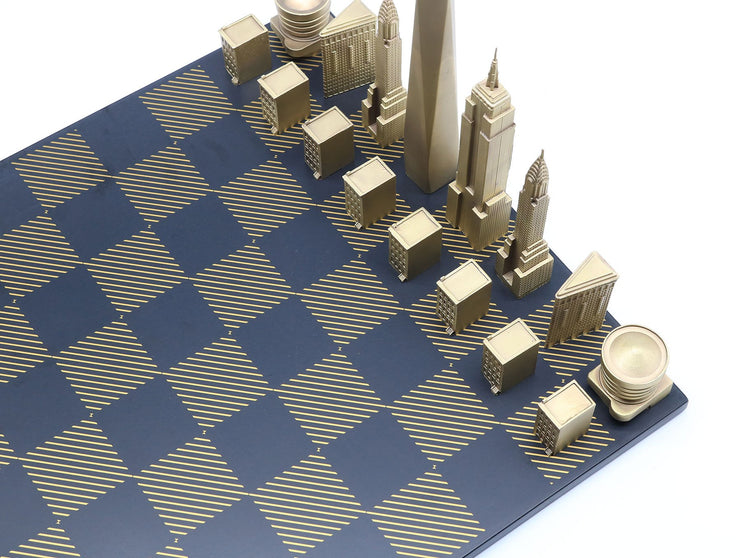 Skyline Chess New York bronze metal unique chess set stone board - gift ideas for men