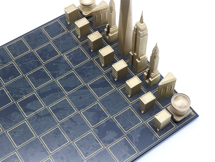 Skyline Chess New York solid bronze metal unique chess set map board - gift ideas for men