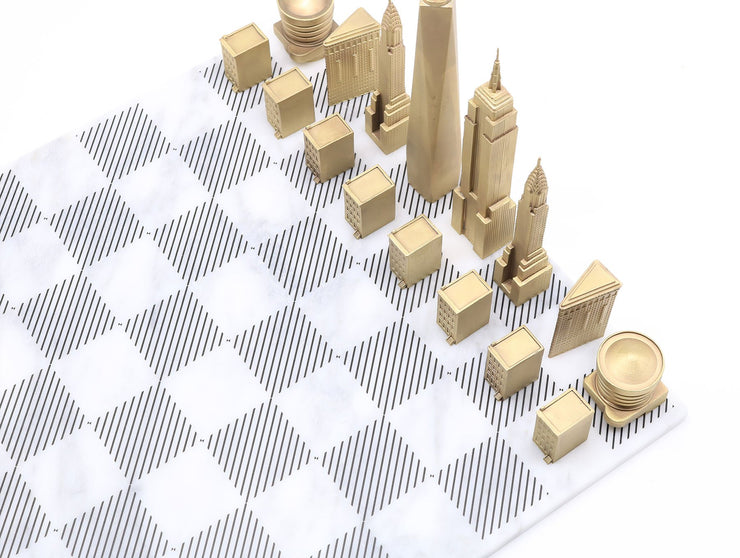 Skyline Chess New York solid bronze Carrara metal unique chess set marble board - gift ideas for men
