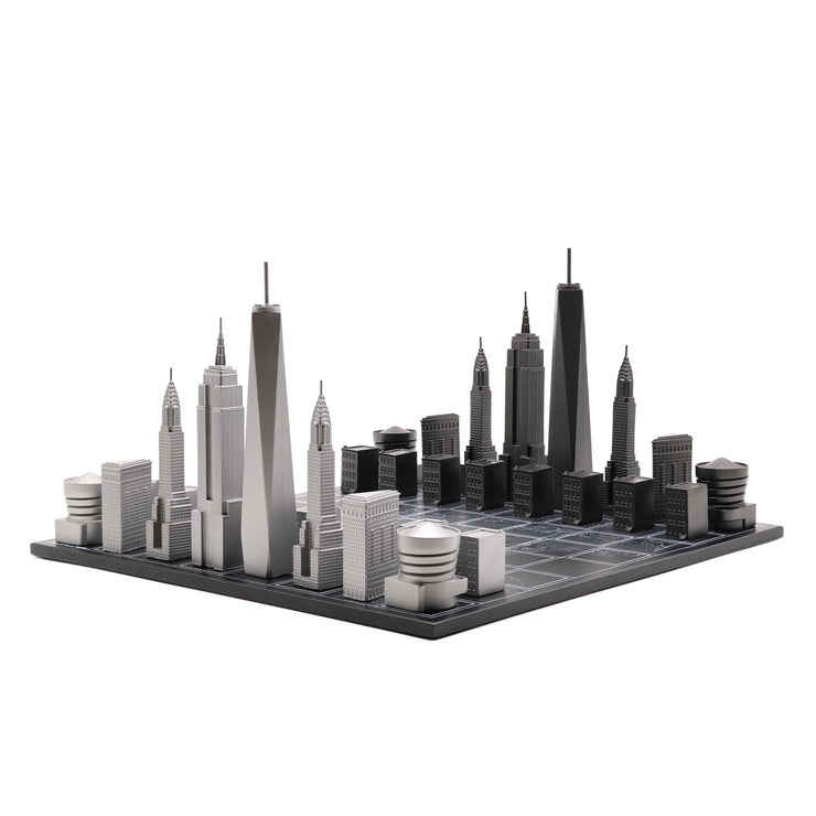 Skyline Chess New York unique luxury bronze chess set of famous buildings