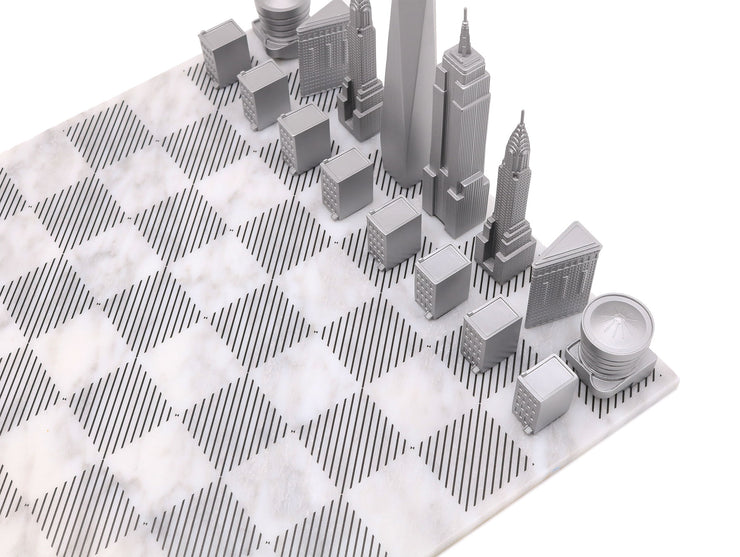 New York unique metal chess set cool board game for men