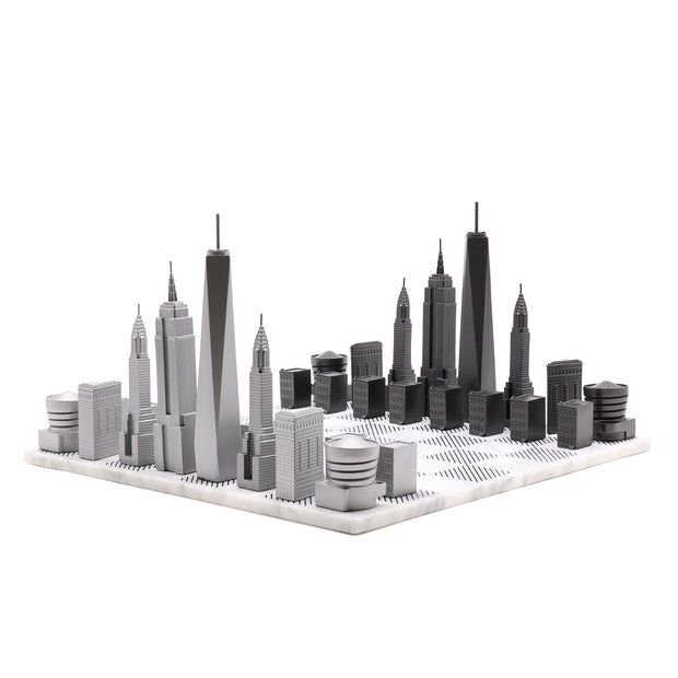 Skyline Chess New York unique bronze metal chess set personalized gifts